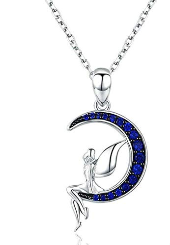 DUEJJH Co.,ltd Necklace Woman Necklace 925 Fairy Angel Moon Pendant Girl Necklace Blue Cubic Zirconia Fashion Charm Jewelry Gifts Banquet Party Valentine's Day Gift