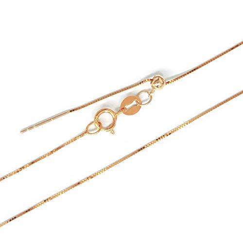 One&Only Jewellery 【K18】K18 シンプル 替えチェーン スライドアジャスター 18金 ベネチアン 45cm フリーサイズ (ピンクゴールド)