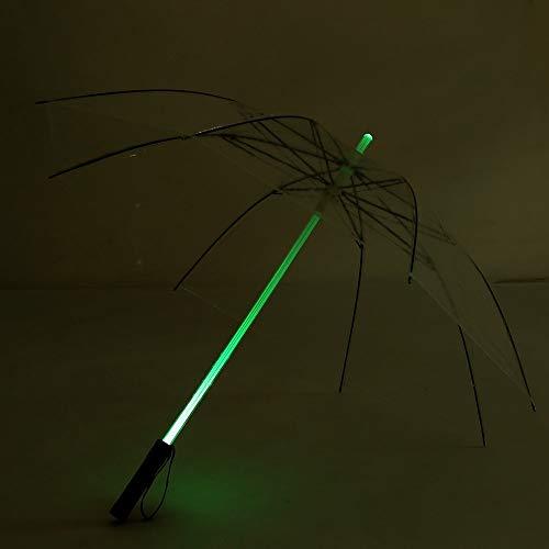 ZLJ Paraguas LED a Prueba de Lluvia Paraguas Exquisito y cómodo Que Cambia de Color Paraguas LED con Pilas fácil de Usar para Caminar Viajes Oscuros (Transparente)