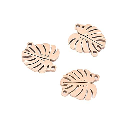 BOSAIYA PJ1 5pcs Conectores de Hoja de Acero Inoxidable Hallazgos, Joyas de Oro de Oro de Oro Accesorios de Conectores de Pulsera Tl0613 (Color : Rose Gold Leaf)