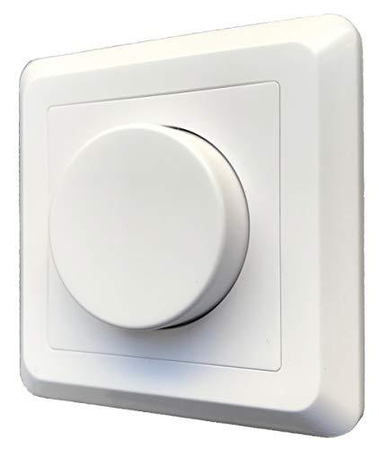 greenandco gc-200 regulador de intensidad LED giratorio 1-200 W, también adecuado para bombillas convencionales y circuitos con conmutador, empotrable, blanco