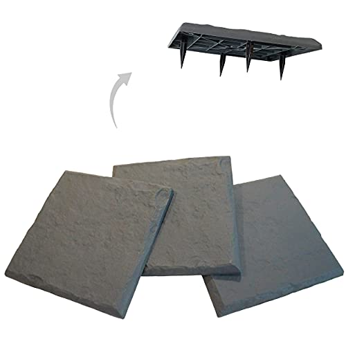 """Gardien New Innovative 15.5"""" All Weather Decorative Stepping Stones That Stake Into The Ground - Decorative Walkway for Outdoor Pathway, Lawn, Yard, Home, or Garden - Resin Material - Slate Grey Color"""