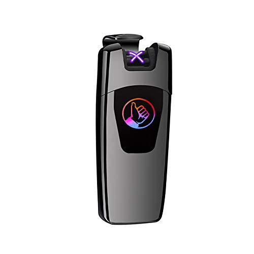 Mechero eléctrico USB con Pipa Recargable, Dual ARC Beam, Resistente al Viento, sin Llama, con indicador de batería, Cable USB, Seguridad para bujías de Cigarrillos