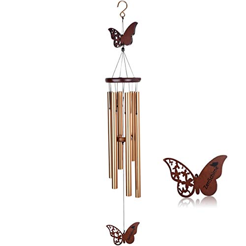 Wind Chimes for Outside Clearance  Wood amp Metal Hanging Decorations Perfect for Indoor amp Outdoor Garden  Wooden Butterfly Design amp Aluminum Tubes for House Warming Sympathy amp Memorial Gift