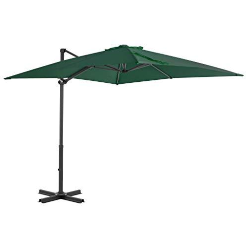 UnfadeMemory Ampelschirm Sonnenschirm mit Aluminium-Mast Gartenschirm Freiarm Terrassenschirm 8 Schirmrippen Kippbar und 360 ° Drehbar, Lüftung und Kurbelsystem (Grün 250 x 250 cm)