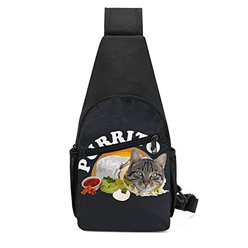 DJNGN Urrito Kitty Katze in einer Burrito Mehrzweck-Brust Umhängetasche Reise Wandertagesrucksack für Männer und Frauen