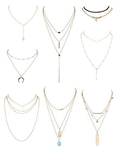 LOLIAS 8Pcs Layered Choker Necklace Y Necklaces for Women Girls Boho Multilayered Long Pendant Necklace Set