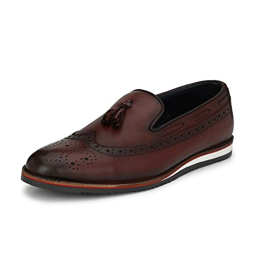 Saddle & Barnes Men's Maroon Leather Loafers - 9 UK, HS 250-9