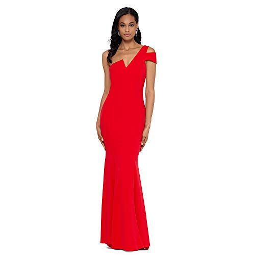 Betsy & Adam Long Slim One Shoulder Dress | Cold Shoulder Evening Gown | Form Fitting Formal Dress with Asymmetrical V Neck Red
