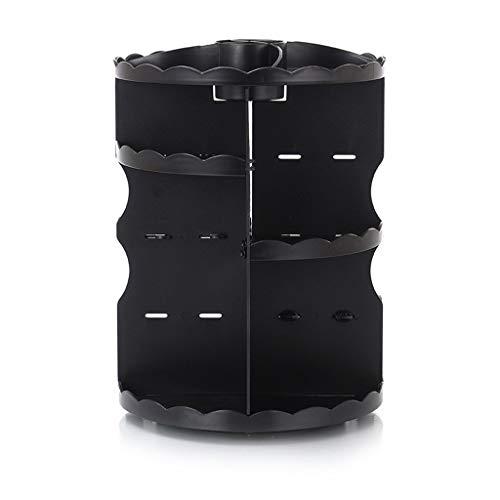 360 graden roterende cosmetica opslag rack dressing tafel make-up organisator toiletpot Zwart