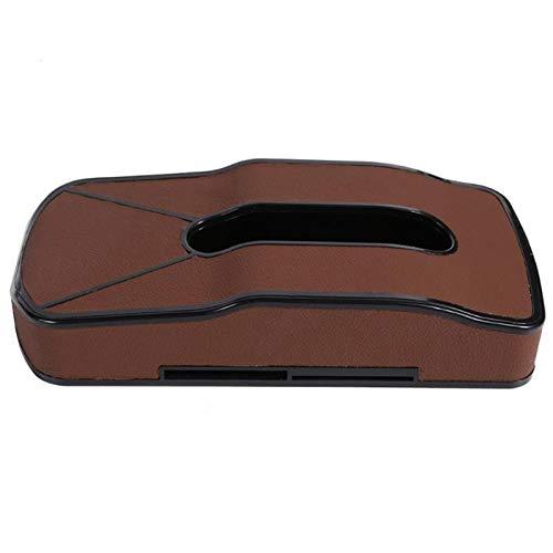 Auto-Gewebe-Kasten PU-Leder-Masken-hängende Art Auto Start Dual-Purpose Kreative Multifunktions-Serviettenhalter mit Kartensteckplatz (Color Name : Light Brown)