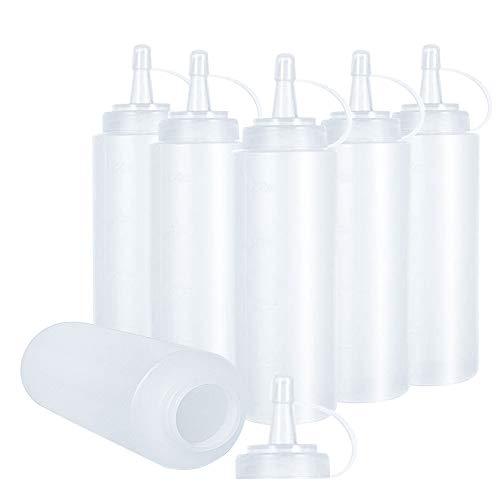 KANOSON Squeeze Flasche , 6 Stück 250ml 8oz Plastik Quetschflasche Mit Kappen - BPA Frei,Kein Leck Condiment Flaschen für Malen,Backen,Ketchup,scharfe Soße,Olivenöl, Saucenflasche