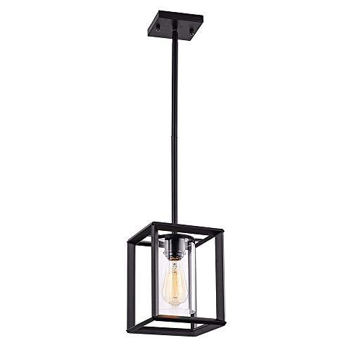 Naiyn E27 Iluminación Colgante rústica para Comedor Casa de Campo Cocina Isla Candelabro Accesorios Modernos para Colgar en Jaula con Pantalla de Vidrio Lámpara Colgante Negra