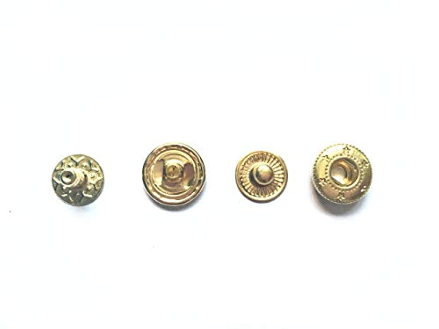 100 Sets 1/2 Inch Metal Snap Fasteners Leather Snaps Button Press Studs (Gold, 12.5mm)