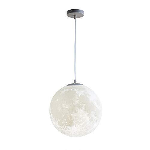 Luna Lampadario Stampa 3D Luna Sfera Rotonda Arte Moderna Lampadari Illuminazione Lampada a Sospensione Luna Camera da Letto Sala da Pranzo Bambini Balcone Lampada a Sospensione Creativa (D 30CM)