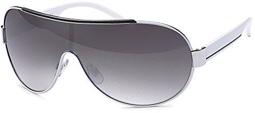 FEINZWIRN sportliche Sonnenbrille Novara mit Verlaufsglas und Monoscheibe + Brillenbeutel - Sonnenbrillen Unisex (Weiß)