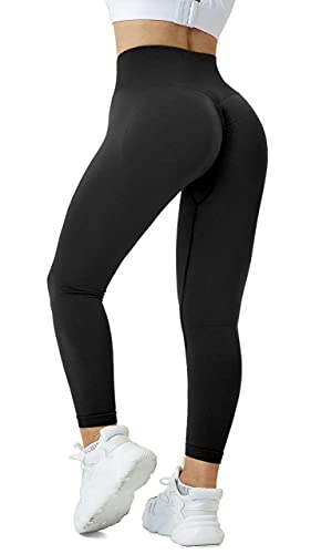 Fulbelle Black Pants for Women,Opaque High Waist Ruched Scrunch Leggings Booty Butt Lifting Seamless Yoga Comfortable Sweat Absorption Workout Tights for Climbing Ballet L