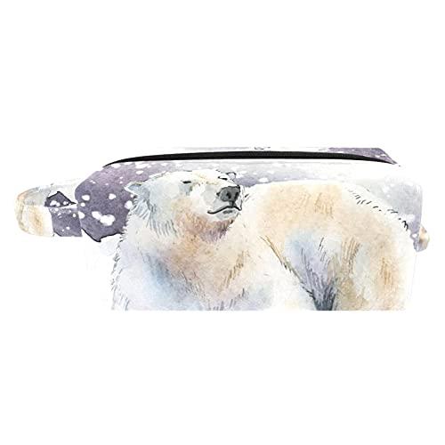 Neceser Maquillaje Portátil Bolsa de Maquillaje Ligera Bolsillos Profesional Organizador de Maquillaje Bolso de Cosméticos de Viaje Oso Polar Animal de la Nieve 21x8x9 cm