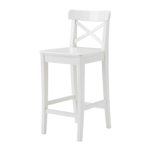 IKEA INGOLF -Barhocker mit Rückenlehne weiß