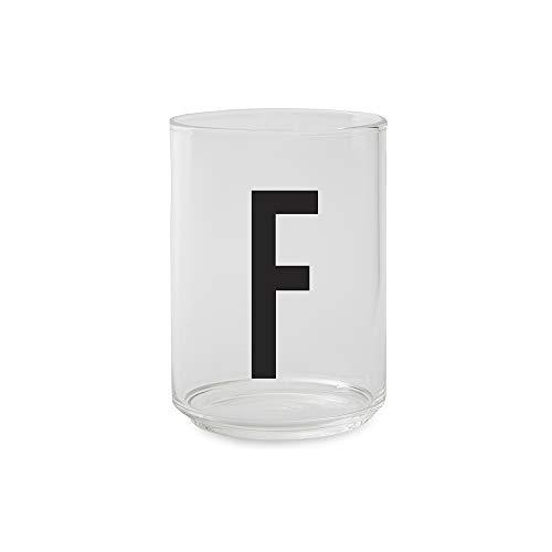 Design Letters Persönliche Trinkglas - F - Dekoratives Glas von A-Z erhältlich, ideal für Wasser und Getränke, spülmaschinenfest, 350 ml, H: 10,5 x D: 7,5 cm