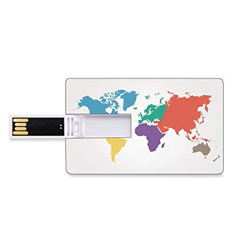 4 GB USB-Flash-Thumb-Laufwerke Karte Bank Kreditkarte Form Business Key U Disk Memory Stick Speicher Kontinente der Welt Regionen Länder Global International Theme Dekorativ,Mu