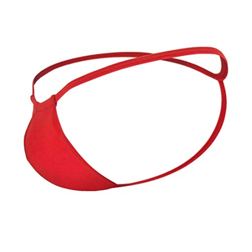 NIMRA FASHION Mens Combo of Polyster Spandex Enhancing Y-Cut Back G-String Thong Sexy Underwear, Free Size Fit for S-M-L Waist, Red and White Color, 2 Pcs Combo