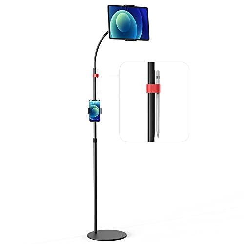MiiKARE Supporto per tablet alto,Supporto per Tablet da Pavimento con braccio flessibile e altezza regolabile da 43,3  a 65 ,Supporto Regolabile di 360°,Supporto in Metallo per Tablet da 4,7  -12,9