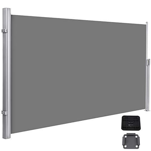 SONGMICS Seitenmarkise, ausziehbar, 1,8 x 3,5 m (H x L), für Balkon, Terrasse und Garten, mit Bodenhalterung, Sichtschutz, Sonnenschutz, Seitenrollo, grau GSA185GO1