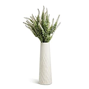 Silk Flower Arrangements Opps Artificial Lavender Flowers Bouquet with Special White Ceramic Vase for Home, Party & Wedding Décor – White