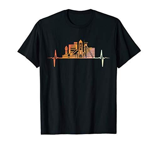 Oberhausen Skyline Herzschlag Retro Vintage Stil T-Shirt