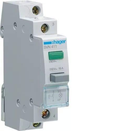 Hager SVN411 Taster 1S grün m.LED-Melde- leuchte 16A 250V