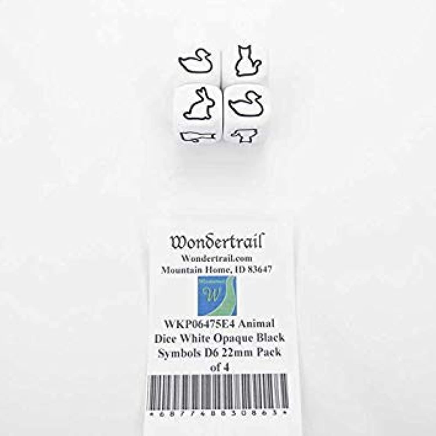 Animal Dice White Opaque Dice with Black Symbols D6 22mm (7 8in) Pack of 4 Wondertrail