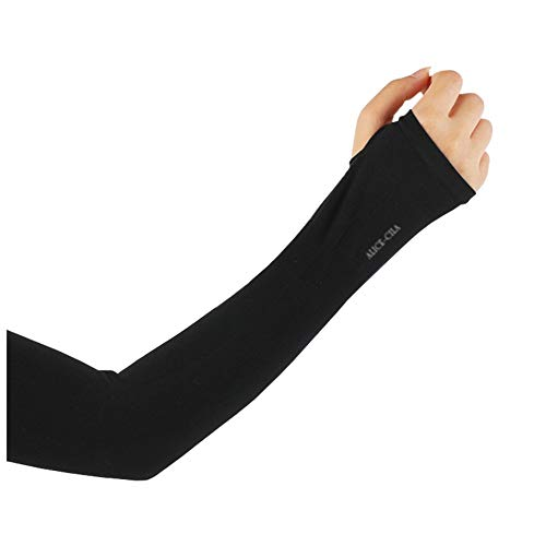 ALICE-CILA [Amazon限定ブランド] アームカバー UVカット 冷感 手袋 ロング 夏 紫外線対策 日焼け防止 涼感 速乾 UVケア 男女兼用 (ブラック(指通し))