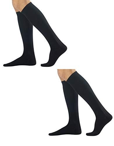 CALZITALY – PACK 2 PARES Ejecutivos Canalé de Hombre   Calcetines de Algodón Cálido   Negro, Azul Marino, Gris, Marrón   39/42, 43/46   Made in Italy (43/46, Negro)