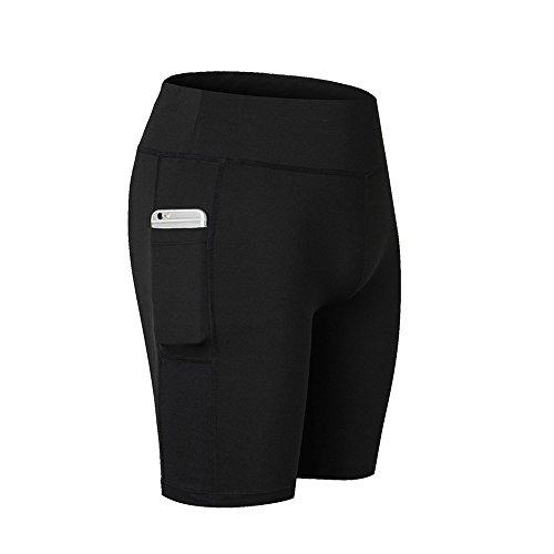 SwissWell Damen Joggen Shorts Sport Kurze Leggings Fitness Tights Yoga Shorts Kurze Hosen Mesh Radlerhose Hot Pants Hipster Workout mit Taschen Schwarz 2XL