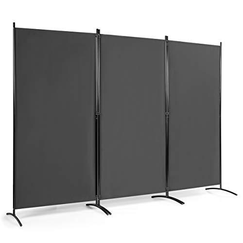 COSTWAY Paravento Divisorio Separè, Separatore Pieghevole, Scelta di Colori e Dimensioni (Grigio, 260x183cm(3 Pannelli))