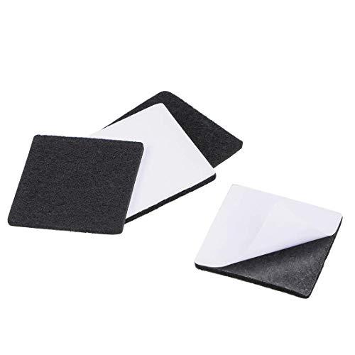 YeVhear Furniture Pads - Almohadillas de fieltro adhesivas (50 x 50 mm, cuadradas, 3 mm, 4 unidades), color negro