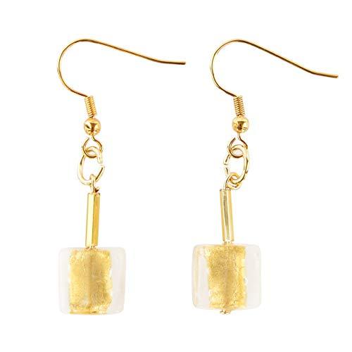 Pendientes de cristal de Murano con perla cuadrada de Murano en hoja de oro, cristales de Murano