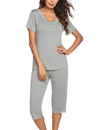 Ekouaer Womens Sleepwear Capri Pajamas Sets V Neck Solid Color Night Suits Pjs Set Gray XL
