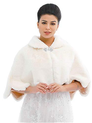 Ushiny Chal y estola de piel sintética para boda, bufanda de piel de invierno para mujeres y niñas