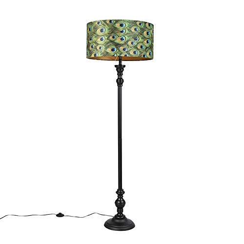 QAZQA Klassiek/Antiek Vloerlamp zwart met velours kap pauw goud 50 cm - Classico Hout/Staal/Stof Langwerpig/Rond Geschikt voor LED Max. 1 x 40 Watt