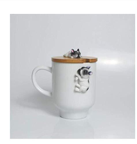 ZKAIAI Cups, Mugs Ceramic Cup Creative Cartoon 3D Corgi French Bulldog Ceramic Mugs Cute Large Capacity Dog Mugs Student Couple Cup For Friend Gift Mug for Coffee Tea Milk Oatmeal