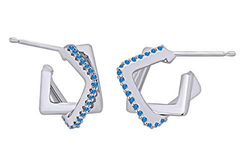 Pendientes de aro cuadrados redondos de imitación de topacio azul entrelazados de 14 quilates de oro blanco sólido