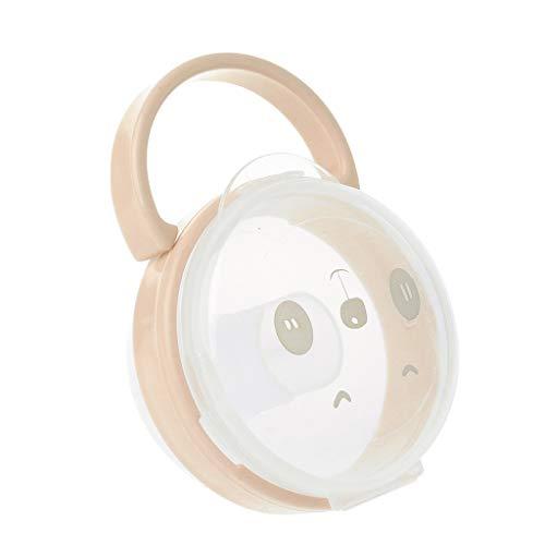Gwxevce Baby Schnuller Aufbewahrungsbox Cartoon Panda Muster Schnuller Nippel Transparente Staubkästen Tragbare Schnuller Aufbewahrungsbox Aprikose