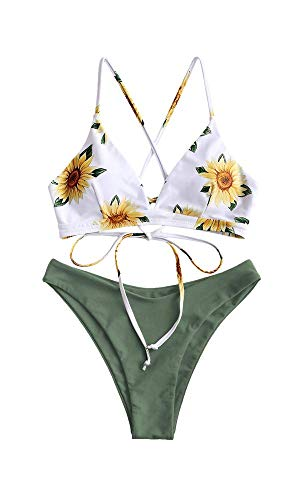 ZAFUL High Cut Bikini Set, gepolsterter Bademode mit Querstreben Knotted Rückseit/Sonnenblume Druckmuster für Damen (Grün, M (EU 38))