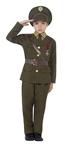 Smiffys Kinder Armee Offizier Kostüm, Jackett mit befestigtem Gürtel, Hose, Hemdattrappe, Krawatte und Hut, Größe: M, 27536M