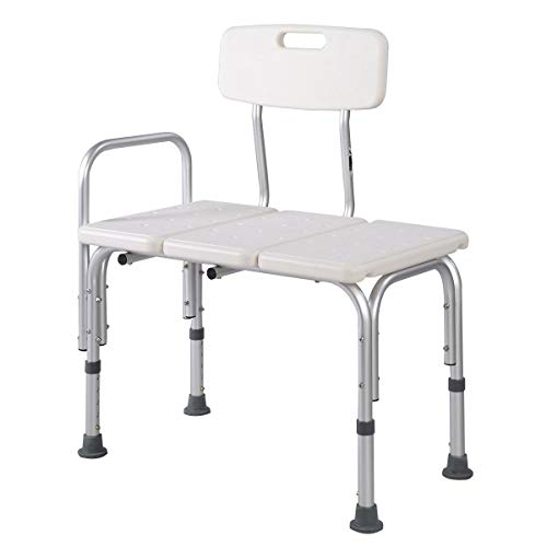 """24"""" X 15"""" SEAT OFFERS EASY TRANSFER FROM WHEELCHAIR TO BATH SEAT. 5 LEVELS OF SEAT HEIGHT ADJUSTMENT, EACH INCREMENT IS 1"""". HIGHLY FLEXIBLE, SEAT HEIGHT ADJUSTS FROM 16 1/2"""" TO 20 1/2"""". SEAT BACK CAN BE ASSEMBLED FOR LEFT OR RIGHT HAND APPLICATIONS. ..."""