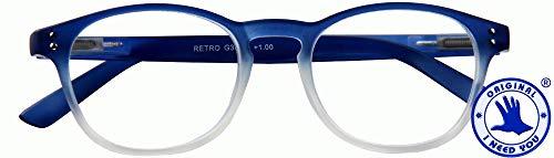 I NEED YOU RETRO, G36800, Panto leesbril met veertechniek, blauw, 1,5 dioptrieën