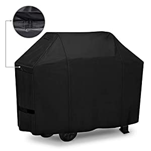 iCOVER Grill Cover 55in, 600D Heavy Duty with Mesh Air Vent, Waterproof Barbecue Gas Smoker Cover, UV and Fade Resistant, Fits Weber Char-Broil Nexgrill Brinkmann and More