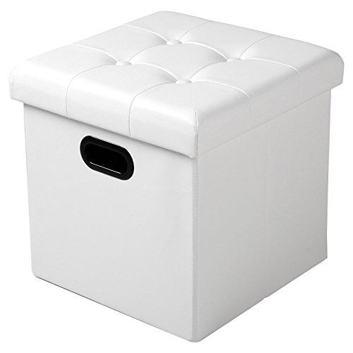 WOLTU Taburete Cubo Taburete con Caja de Almacenamiento Cofres Caja de Almacenamiento Plegable, Tapa Extraíble, con Asas, Asiento Acolchado de Imitación Cuero, 37.5 * 37.5 * 38CM, Blanco,SH15ws